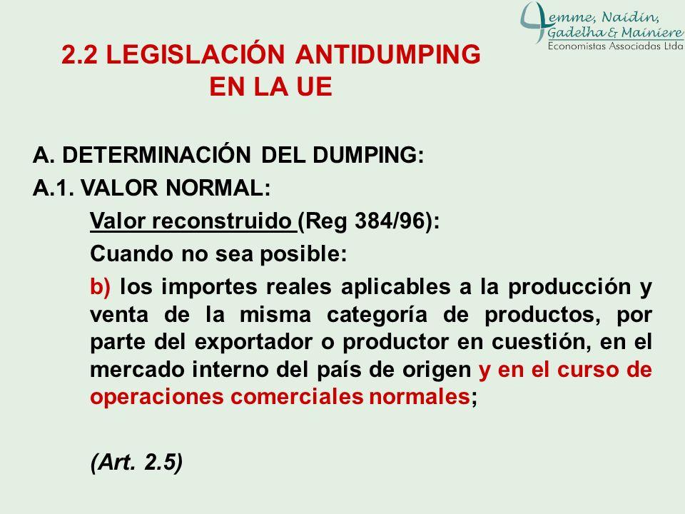 A. DETERMINACIÓN DEL DUMPING: A.1. VALOR NORMAL: Valor reconstruido (Reg 384/96): Cuando no sea posible: b) los importes reales aplicables a la produc