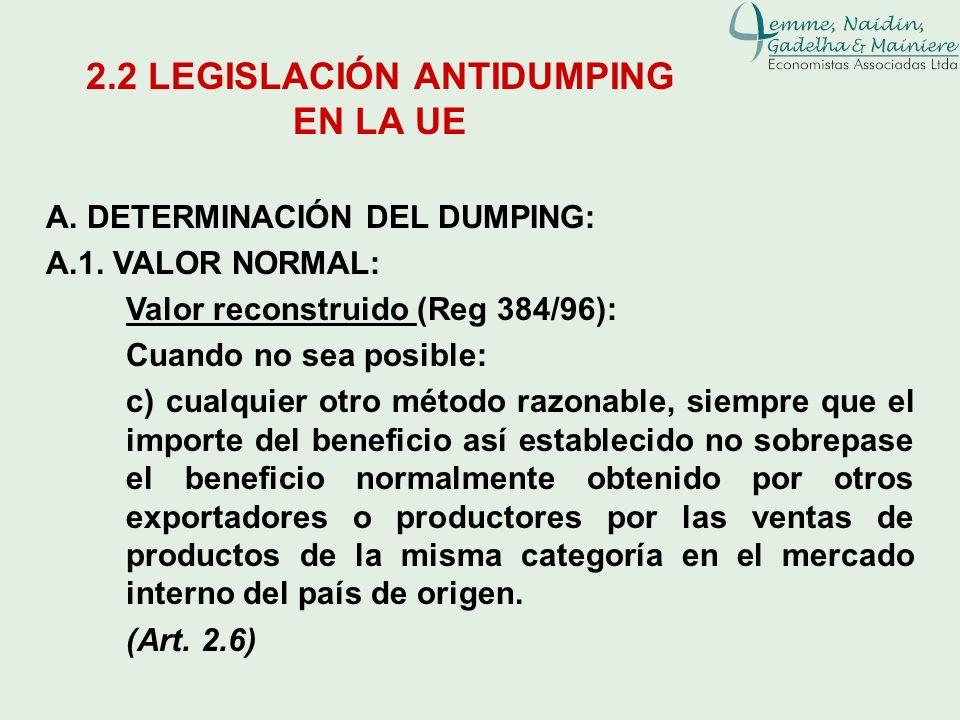 A. DETERMINACIÓN DEL DUMPING: A.1. VALOR NORMAL: Valor reconstruido (Reg 384/96): Cuando no sea posible: c) cualquier otro método razonable, siempre q