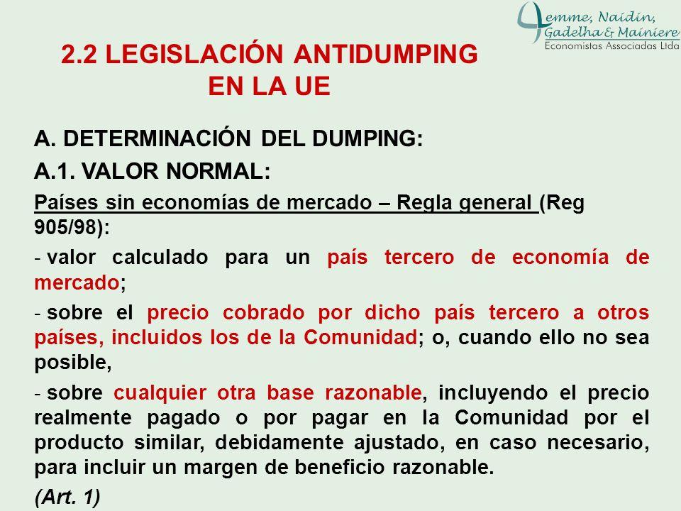 A. DETERMINACIÓN DEL DUMPING: A.1. VALOR NORMAL: Países sin economías de mercado – Regla general (Reg 905/98): - valor calculado para un país tercero