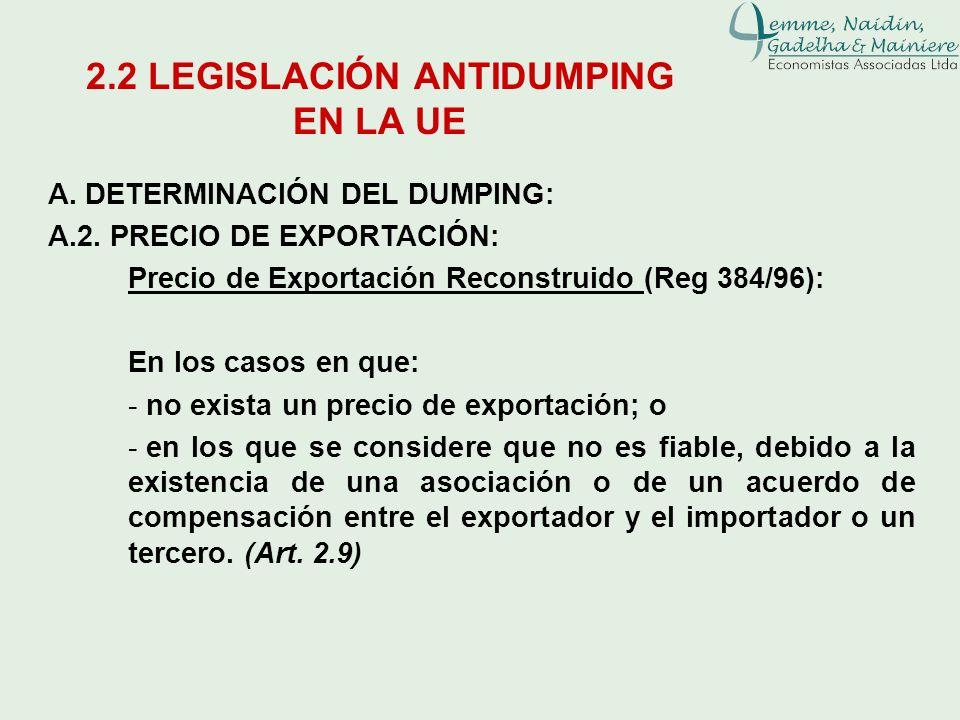 A. DETERMINACIÓN DEL DUMPING: A.2. PRECIO DE EXPORTACIÓN: Precio de Exportación Reconstruido (Reg 384/96): En los casos en que: - no exista un precio