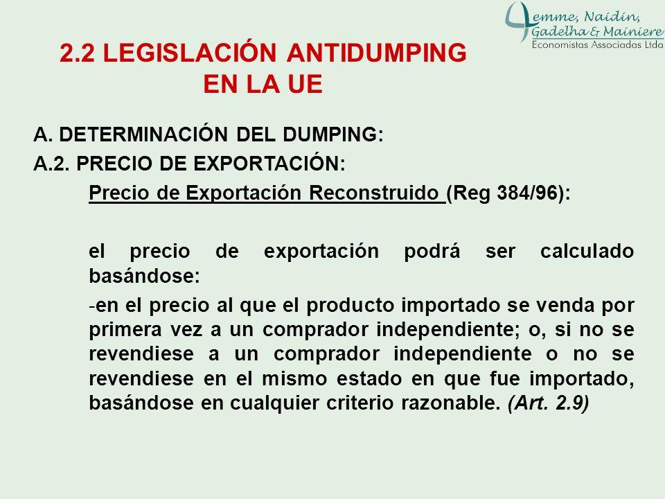 A. DETERMINACIÓN DEL DUMPING: A.2. PRECIO DE EXPORTACIÓN: Precio de Exportación Reconstruido (Reg 384/96): el precio de exportación podrá ser calculad