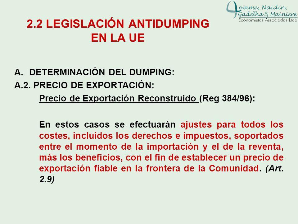 A.DETERMINACIÓN DEL DUMPING: A.2. PRECIO DE EXPORTACIÓN: Precio de Exportación Reconstruido (Reg 384/96): En estos casos se efectuarán ajustes para to