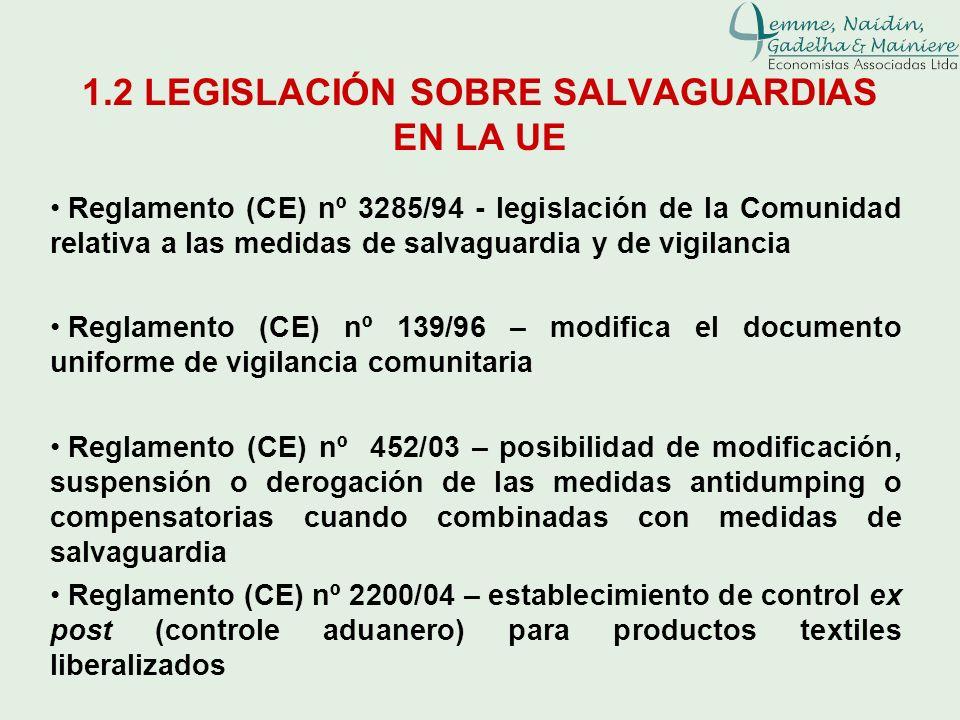 1.2 LEGISLACIÓN SOBRE SALVAGUARDIAS EN LA UE Reglamento (CE) nº 3285/94 - legislación de la Comunidad relativa a las medidas de salvaguardia y de vigi