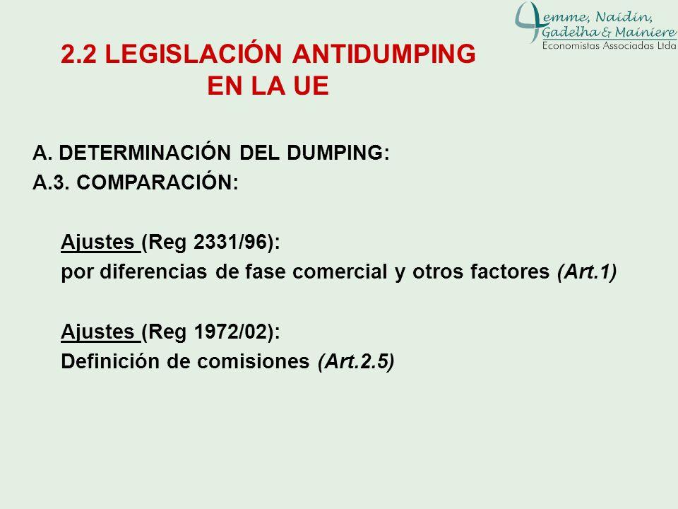 A. DETERMINACIÓN DEL DUMPING: A.3. COMPARACIÓN: Ajustes (Reg 2331/96): por diferencias de fase comercial y otros factores (Art.1) Ajustes (Reg 1972/02