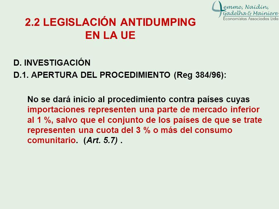 D. INVESTIGACIÓN D.1. APERTURA DEL PROCEDIMIENTO (Reg 384/96): No se dará inicio al procedimiento contra países cuyas importaciones representen una pa