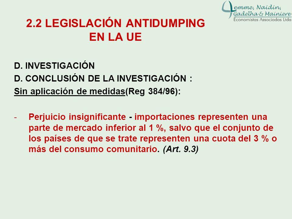 D. INVESTIGACIÓN D. CONCLUSIÓN DE LA INVESTIGACIÓN : Sin aplicación de medidas(Reg 384/96): -Perjuicio insignificante - importaciones representen una