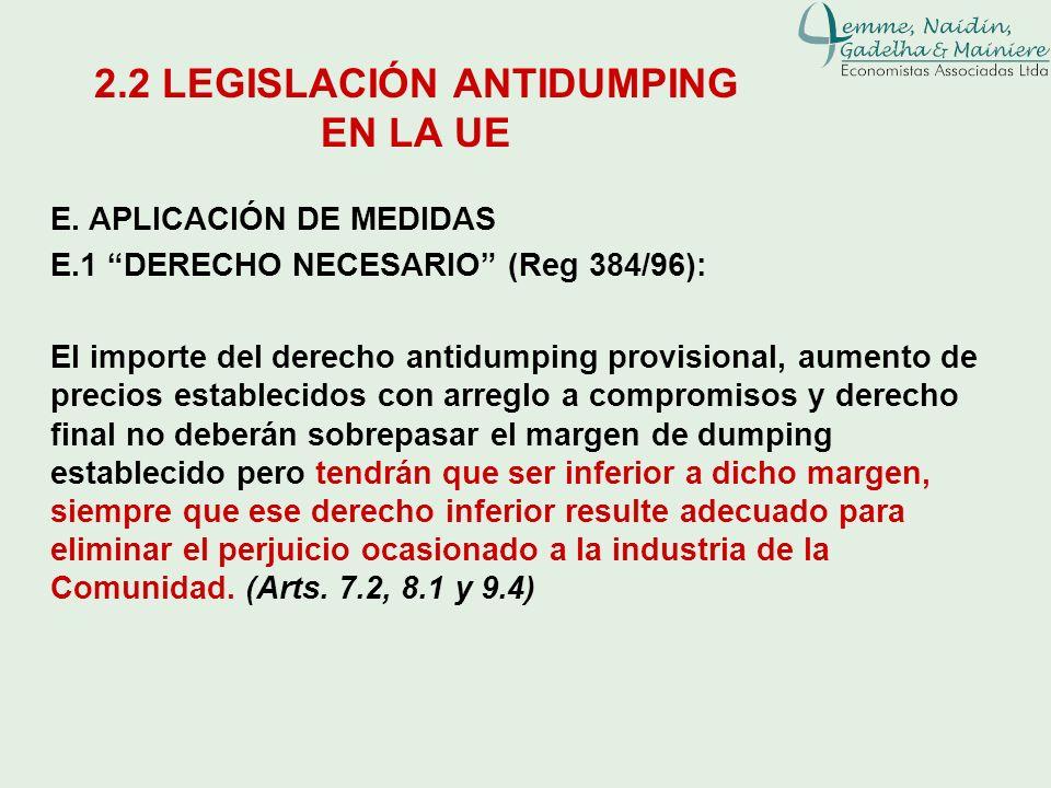 E. APLICACIÓN DE MEDIDAS E.1 DERECHO NECESARIO (Reg 384/96): El importe del derecho antidumping provisional, aumento de precios establecidos con arreg