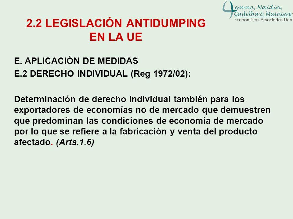 E. APLICACIÓN DE MEDIDAS E.2 DERECHO INDIVIDUAL (Reg 1972/02): Determinación de derecho individual también para los exportadores de economías no de me