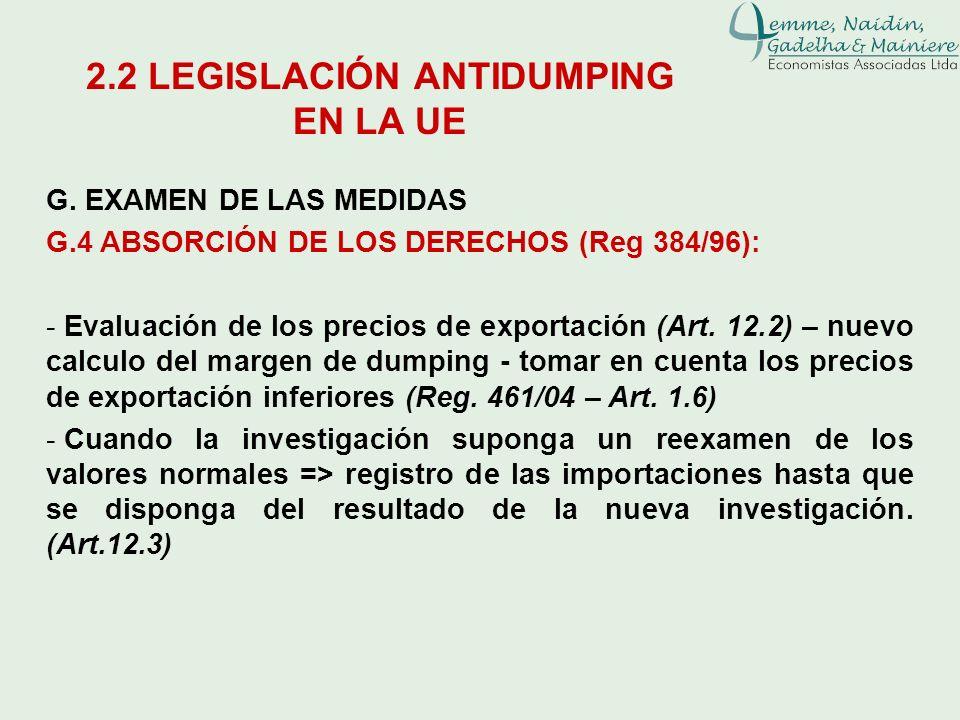 G. EXAMEN DE LAS MEDIDAS G.4 ABSORCIÓN DE LOS DERECHOS (Reg 384/96): - Evaluación de los precios de exportación (Art. 12.2) – nuevo calculo del margen