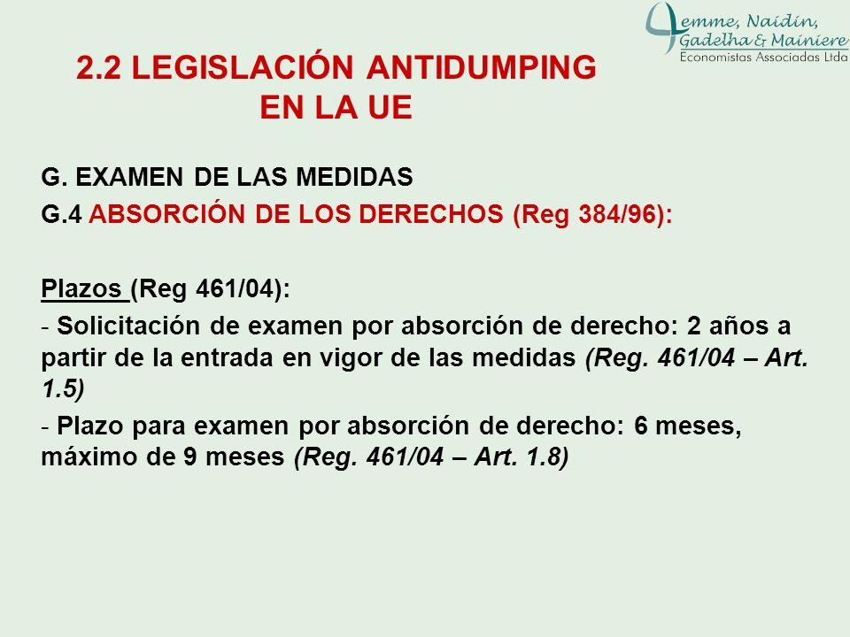 G. EXAMEN DE LAS MEDIDAS G.4 ABSORCIÓN DE LOS DERECHOS (Reg 384/96): Plazos (Reg 461/04): - Solicitación de examen por absorción de derecho: 2 años a