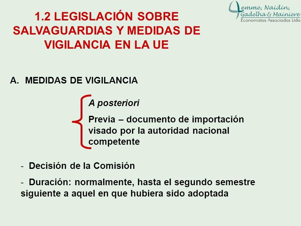 A.MEDIDAS DE VIGILANCIA 1.2 LEGISLACIÓN SOBRE SALVAGUARDIAS Y MEDIDAS DE VIGILANCIA EN LA UE - Decisión de la Comisión - Duración: normalmente, hasta