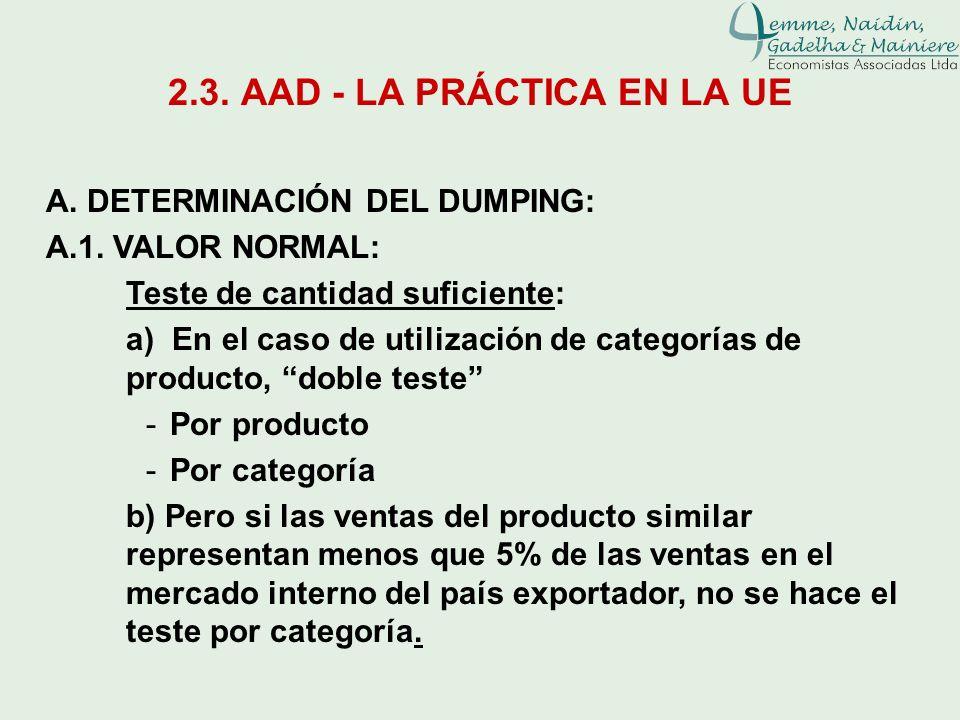 2.3. AAD - LA PRÁCTICA EN LA UE A. DETERMINACIÓN DEL DUMPING: A.1. VALOR NORMAL: Teste de cantidad suficiente: a) En el caso de utilización de categor
