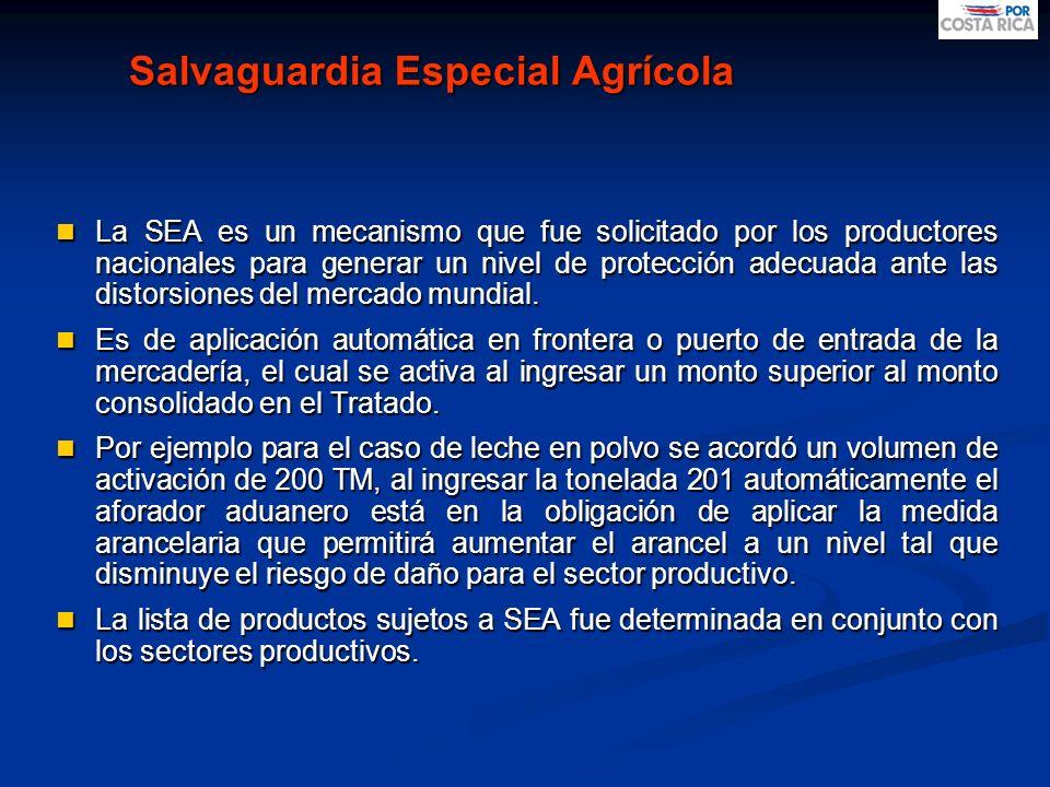 Salvaguardia Especial Agrícola La SEA es un mecanismo que fue solicitado por los productores nacionales para generar un nivel de protección adecuada a