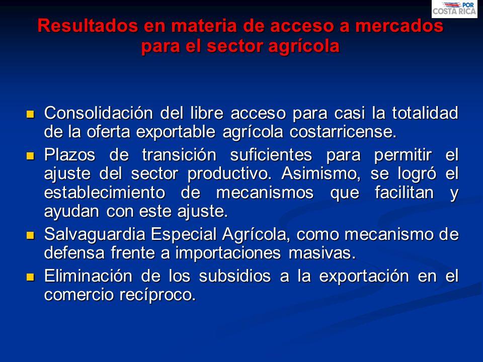 Resultados en materia de acceso a mercados para el sector agrícola Consolidación del libre acceso para casi la totalidad de la oferta exportable agríc