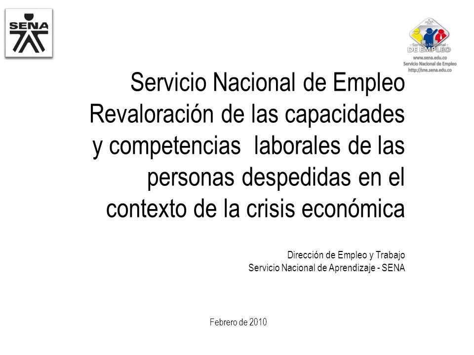 Servicio Nacional de Empleo Revaloración de las capacidades y competencias laborales de las personas despedidas en el contexto de la crisis económica