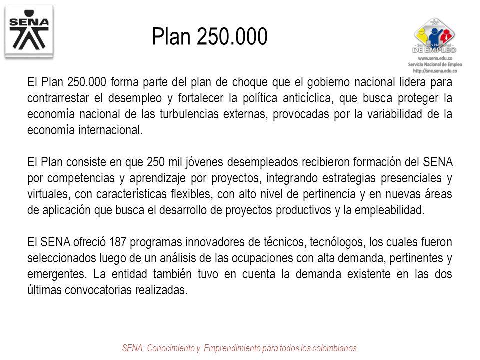 Plan 250.000 SENA: Conocimiento y Emprendimiento para todos los colombianos El Plan 250.000 forma parte del plan de choque que el gobierno nacional li