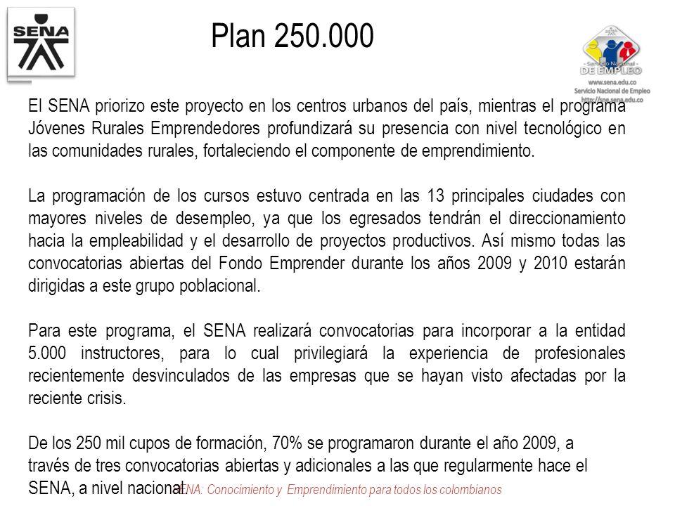 Plan 250.000 SENA: Conocimiento y Emprendimiento para todos los colombianos El SENA priorizo este proyecto en los centros urbanos del país, mientras e