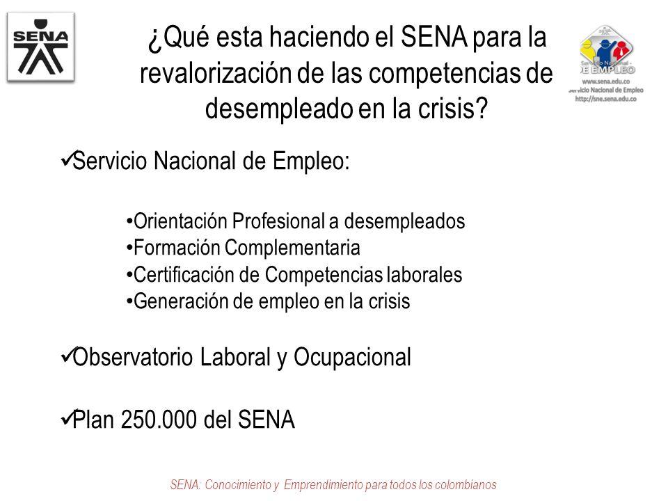 ¿ Qué esta haciendo el SENA para la revalorización de las competencias de desempleado en la crisis? Servicio Nacional de Empleo: Orientación Profesion