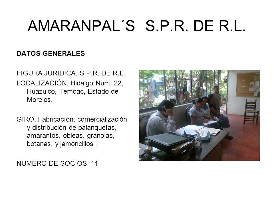 AMARANPAL´S S.P.R. DE R.L. DATOS GENERALES FIGURA JURIDICA: S.P.R. DE R.L. LOCALIZACIÓN: Hidalgo Num. 22, Huazulco, Temoac, Estado de Morelos. GIRO: F