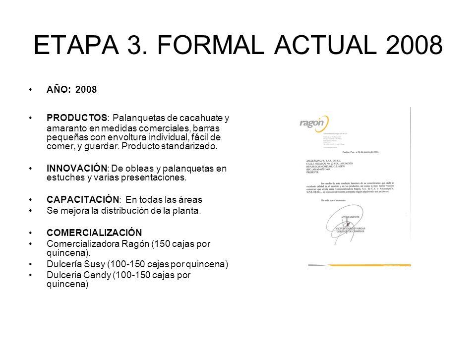 ETAPA 3. FORMAL ACTUAL 2008 AÑO: 2008 PRODUCTOS: Palanquetas de cacahuate y amaranto en medidas comerciales, barras pequeñas con envoltura individual,