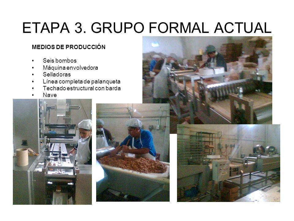 ETAPA 3. GRUPO FORMAL ACTUAL MEDIOS DE PRODUCCIÓN Seis bombos Máquina envolvedora Selladoras Línea completa de palanqueta Techado estructural con bard