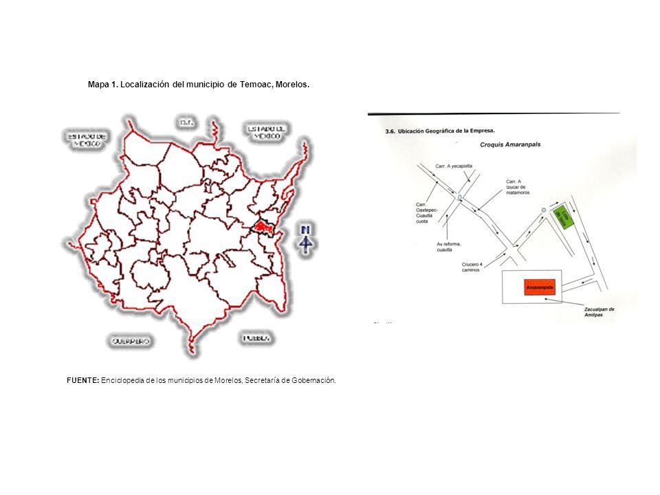 Mapa 1. Localización del municipio de Temoac, Morelos. FUENTE: Enciclopedia de los municipios de Morelos, Secretaría de Gobernación.