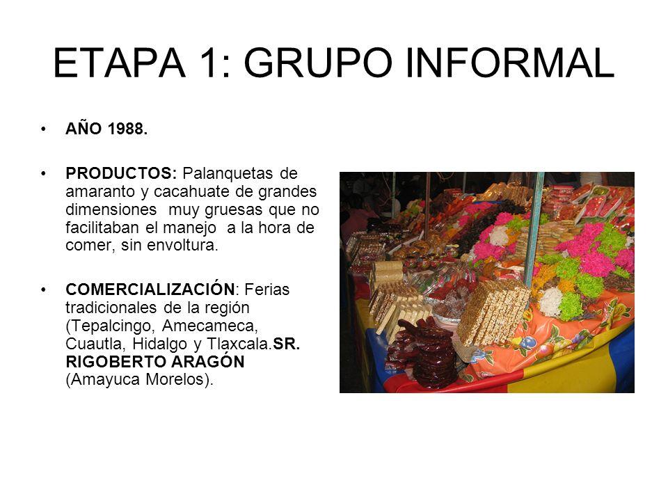 ETAPA 1: GRUPO INFORMAL AÑO 1988. PRODUCTOS: Palanquetas de amaranto y cacahuate de grandes dimensiones muy gruesas que no facilitaban el manejo a la