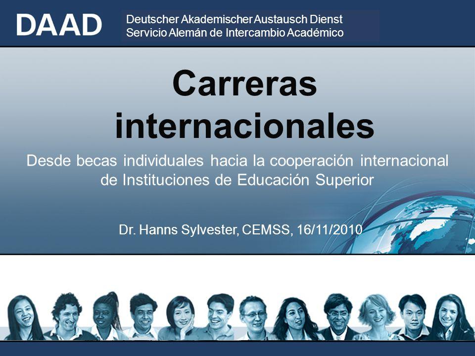 Deutscher Akademischer Austausch Dienst Servicio Alemán de Intercambio Académico Carreras internacionales Dr.