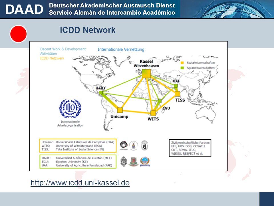 Deutscher Akademischer Austausch Dienst Servicio Alemán de Intercambio Académico ICDD Network http://www.icdd.uni-kassel.de