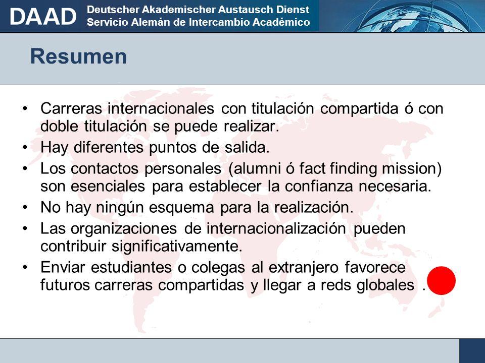 Deutscher Akademischer Austausch Dienst Servicio Alemán de Intercambio Académico Resumen Carreras internacionales con titulación compartida ó con doble titulación se puede realizar.