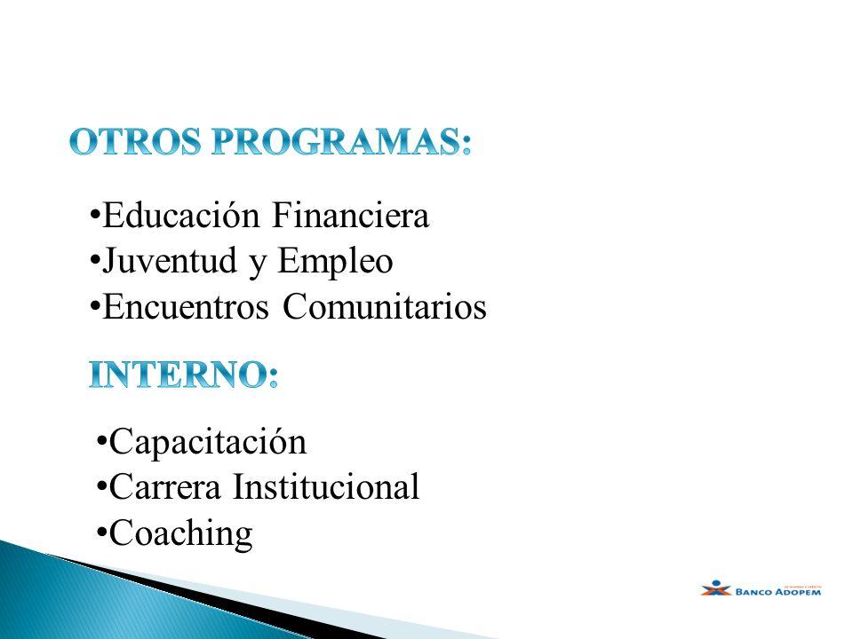 Educación Financiera Juventud y Empleo Encuentros Comunitarios Capacitación Carrera Institucional Coaching