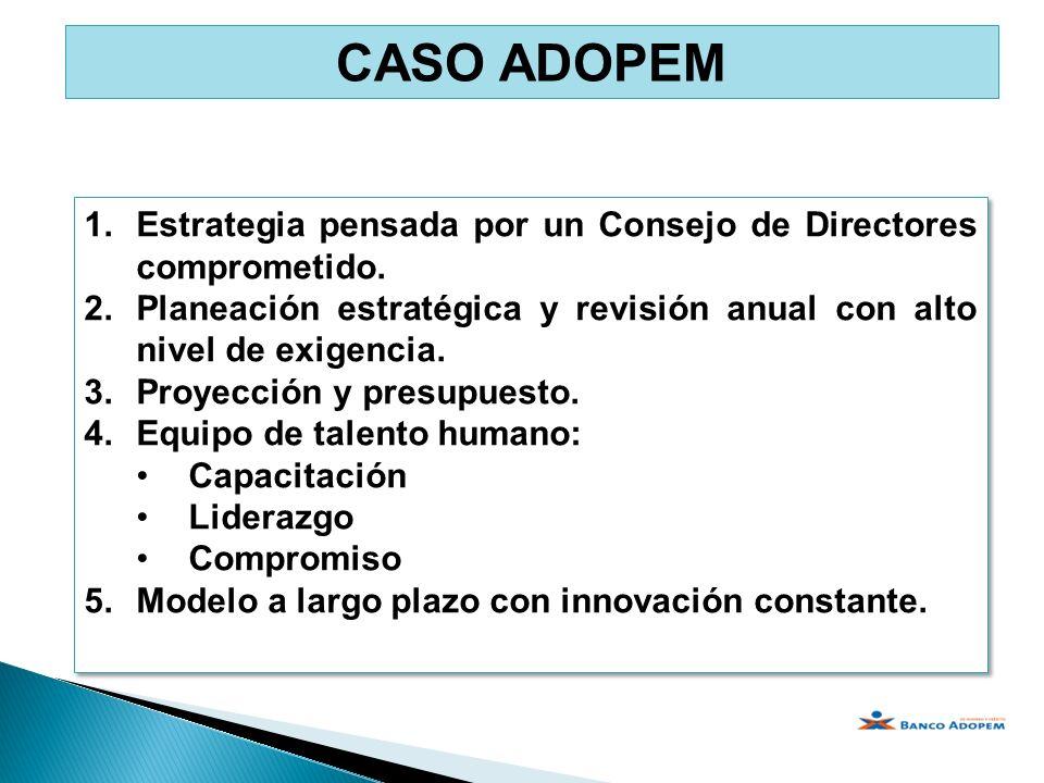 1.Estrategia pensada por un Consejo de Directores comprometido. 2.Planeación estratégica y revisión anual con alto nivel de exigencia. 3.Proyección y
