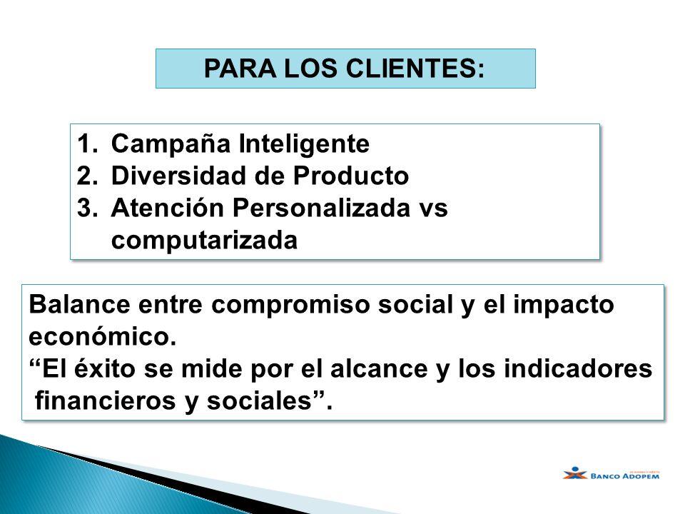 PARA LOS CLIENTES: 1.Campaña Inteligente 2.Diversidad de Producto 3.Atención Personalizada vs computarizada 1.Campaña Inteligente 2.Diversidad de Prod