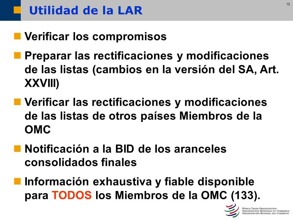 18 Verificar los compromisos Preparar las rectificaciones y modificaciones de las listas (cambios en la versión del SA, Art. XXVIII) Verificar las rec