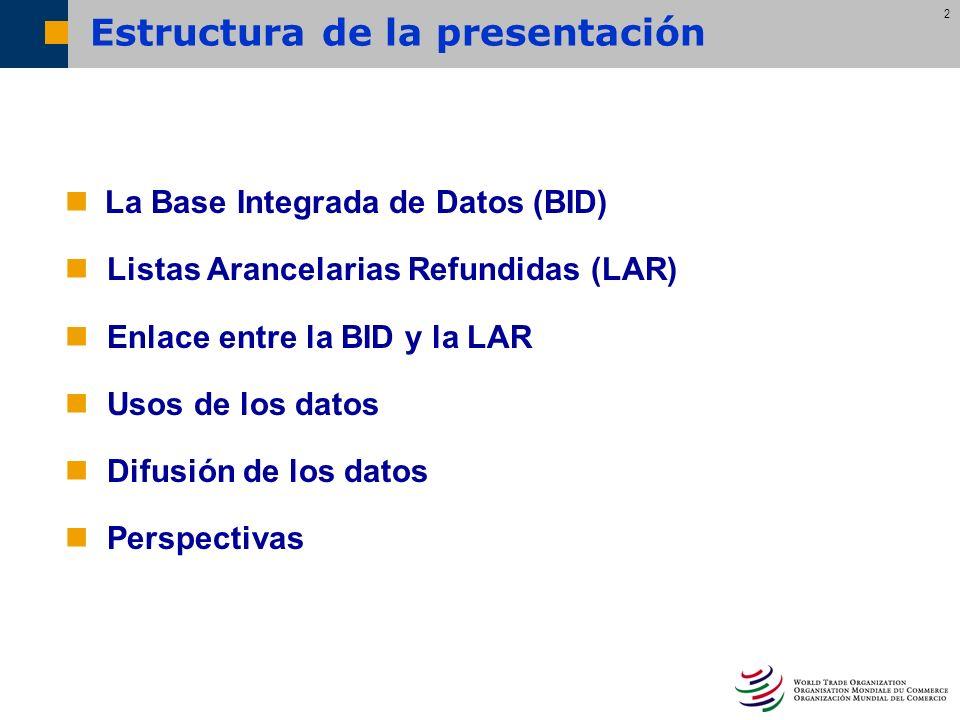 2 La Base Integrada de Datos (BID) Listas Arancelarias Refundidas (LAR) Enlace entre la BID y la LAR Usos de los datos Difusión de los datos Perspecti