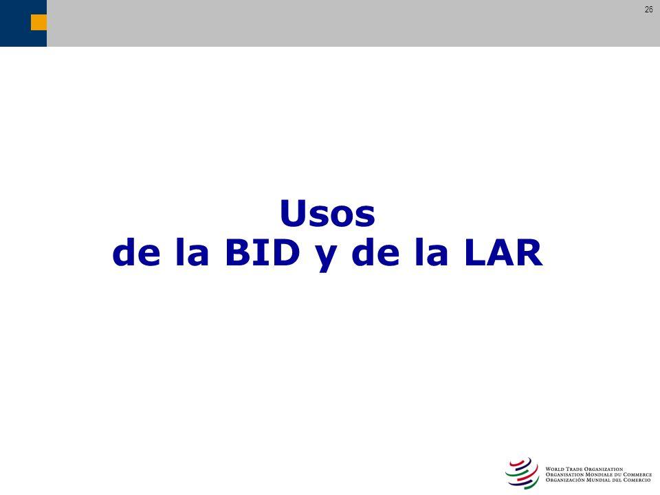 26 Usos de la BID y de la LAR