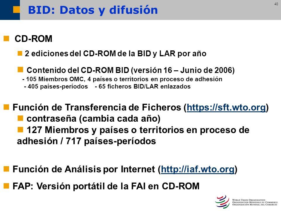 40 CD-ROM 2 ediciones del CD-ROM de la BID y LAR por año Contenido del CD-ROM BID (versión 16 – Junio de 2006) - 105 Miembros OMC, 4 países o territor