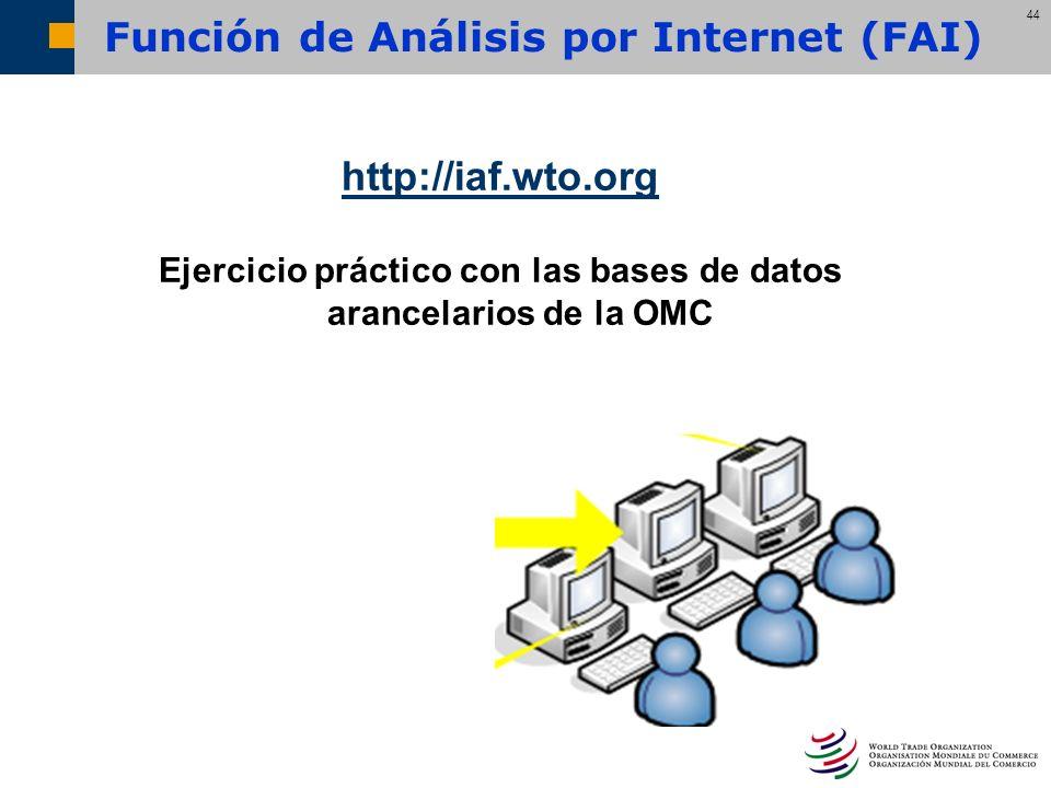 44 Función de Análisis por Internet (FAI) http://iaf.wto.org Ejercicio práctico con las bases de datos arancelarios de la OMC