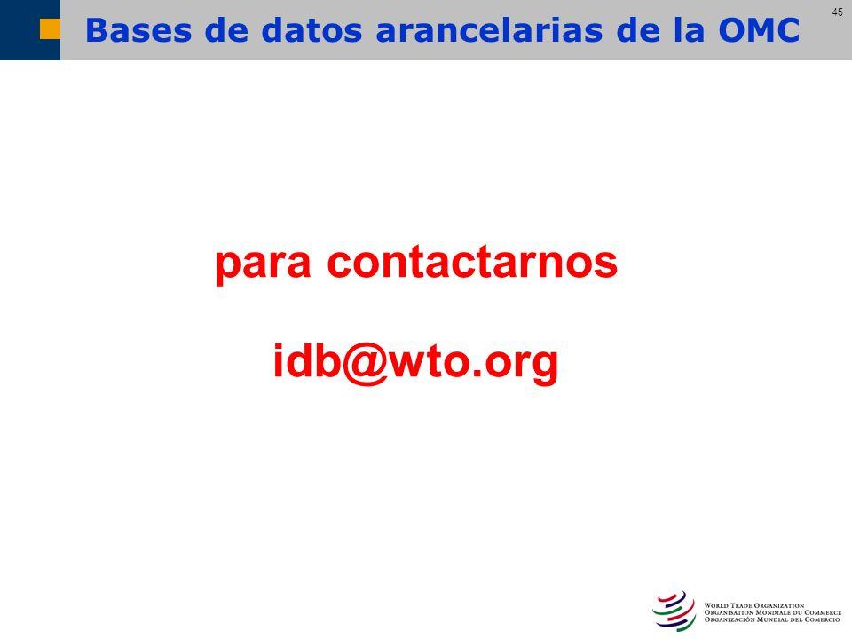45 para contactarnos idb@wto.org Bases de datos arancelarias de la OMC