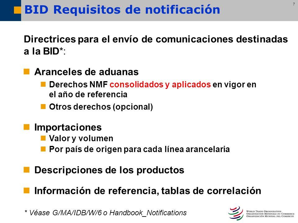 7 BID Requisitos de notificación Aranceles de aduanas Derechos NMF consolidados y aplicados en vigor en el año de referencia Otros derechos (opcional)