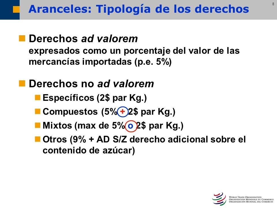 8 Aranceles: Tipología de los derechos Derechos ad valorem expresados como un porcentaje del valor de las mercancías importadas (p.e. 5%) Derechos no