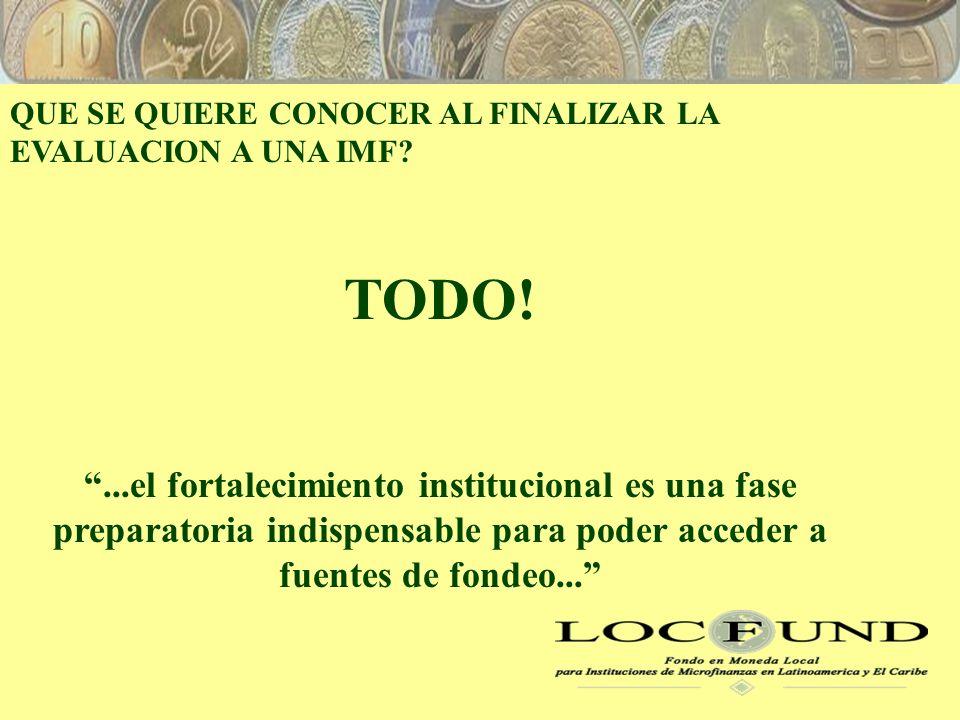QUE SE QUIERE CONOCER AL FINALIZAR LA EVALUACION A UNA IMF.