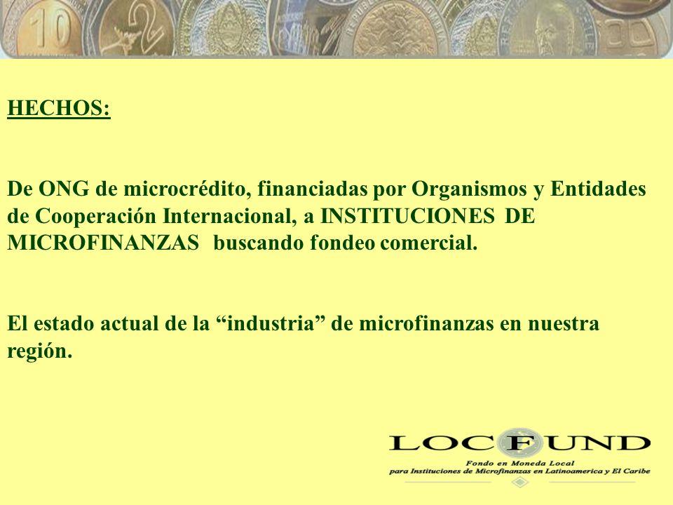 HECHOS: De ONG de microcrédito, financiadas por Organismos y Entidades de Cooperación Internacional, a INSTITUCIONES DE MICROFINANZAS buscando fondeo comercial.