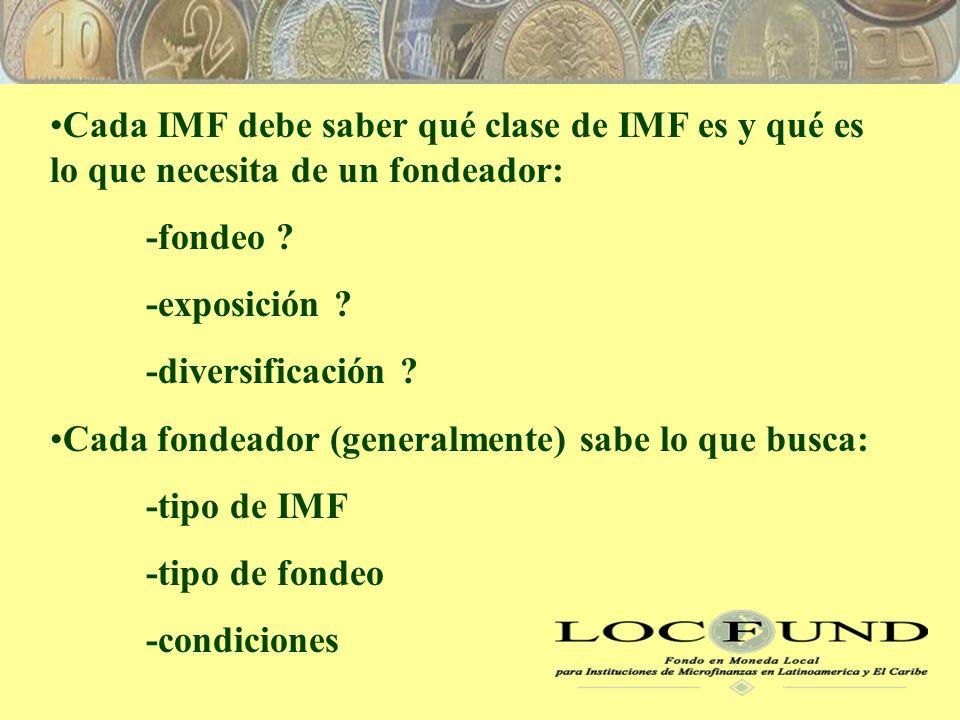 Cada IMF debe saber qué clase de IMF es y qué es lo que necesita de un fondeador: -fondeo .