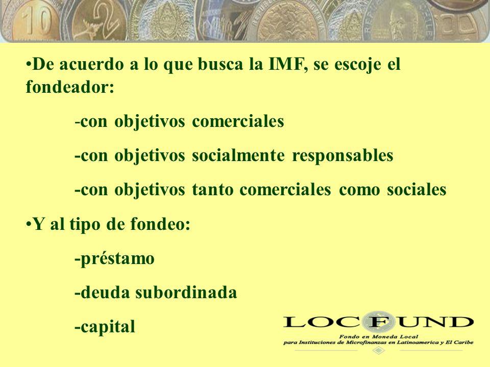 De acuerdo a lo que busca la IMF, se escoje el fondeador: -con objetivos comerciales -con objetivos socialmente responsables -con objetivos tanto comerciales como sociales Y al tipo de fondeo: -préstamo -deuda subordinada -capital