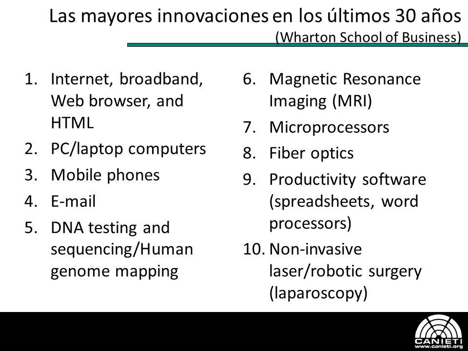 Las mayores innovaciones en los últimos 30 años (Wharton School of Business) 1.Internet, broadband, Web browser, and HTML 2.PC/laptop computers 3.Mobi