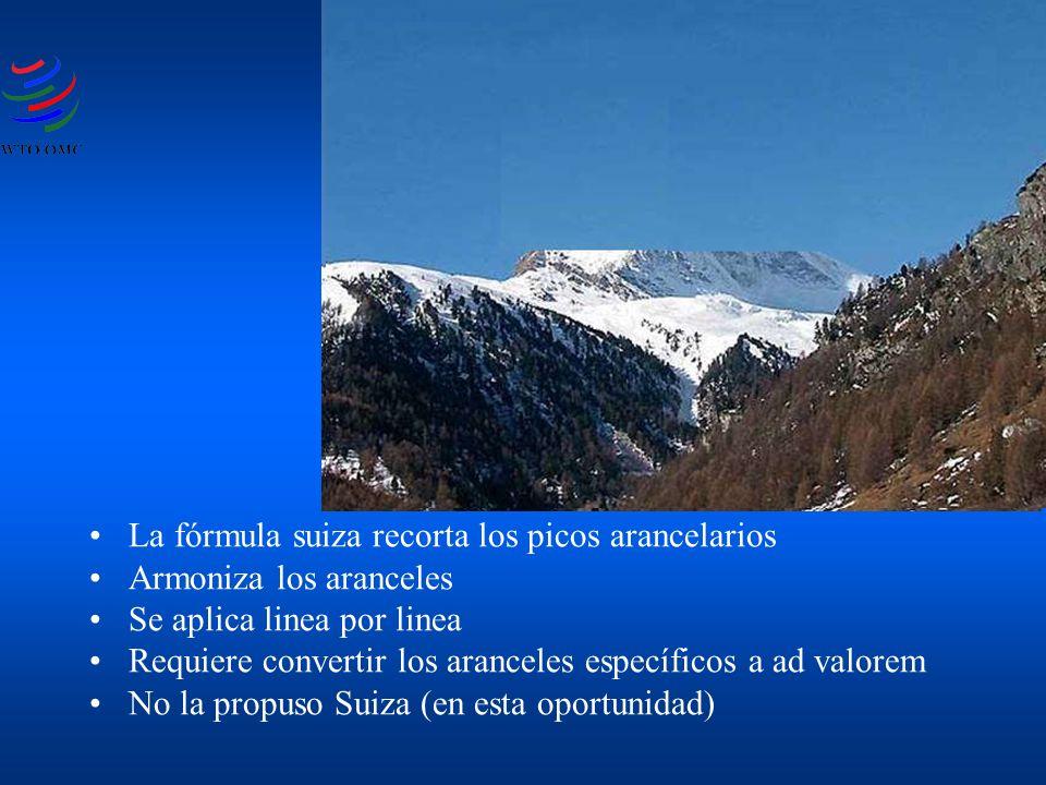 La fórmula suiza recorta los picos arancelarios Armoniza los aranceles Se aplica linea por linea Requiere convertir los aranceles específicos a ad valorem No la propuso Suiza (en esta oportunidad)
