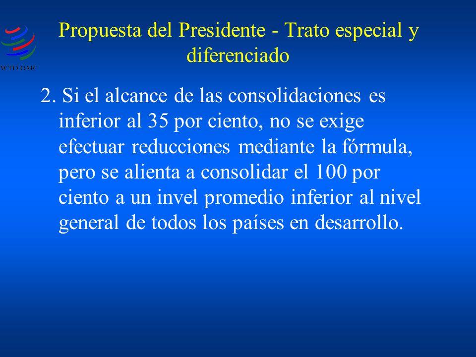 Propuesta del Presidente - Trato especial y diferenciado 2. Si el alcance de las consolidaciones es inferior al 35 por ciento, no se exige efectuar re