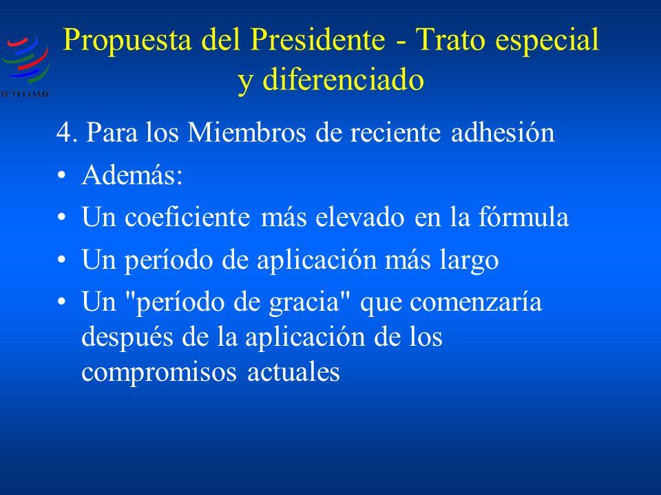 Propuesta del Presidente - Trato especial y diferenciado 4. Para los Miembros de reciente adhesión Además: Un coeficiente más elevado en la fórmula Un
