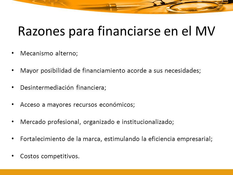 Razones para financiarse en el MV Mecanismo alterno; Mayor posibilidad de financiamiento acorde a sus necesidades; Desintermediación financiera; Acces